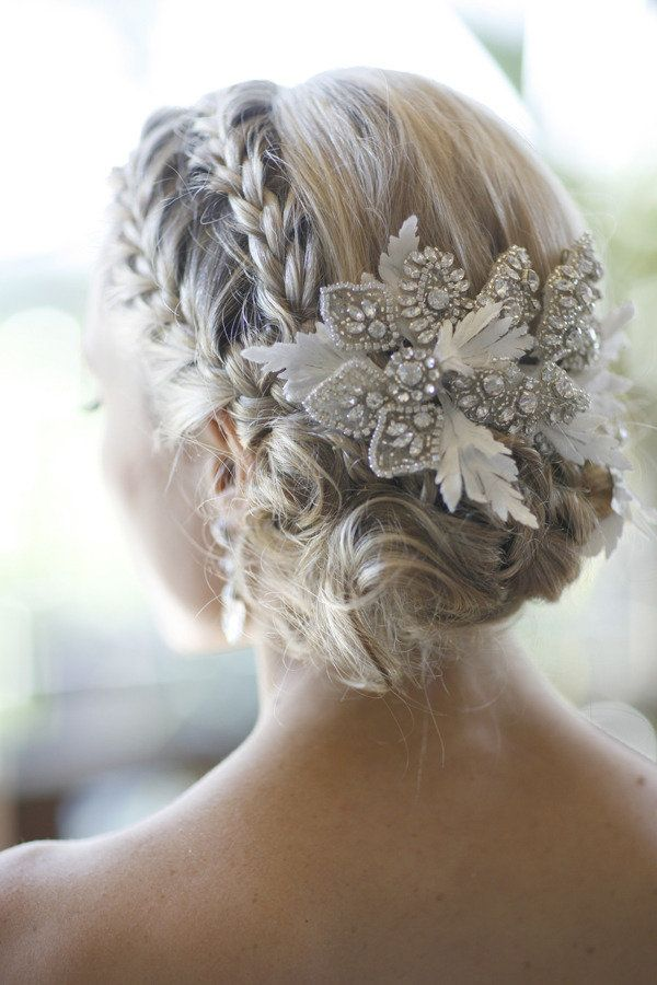 Beautiful Braided Low Up-do Hairstyle With Feathery Clips