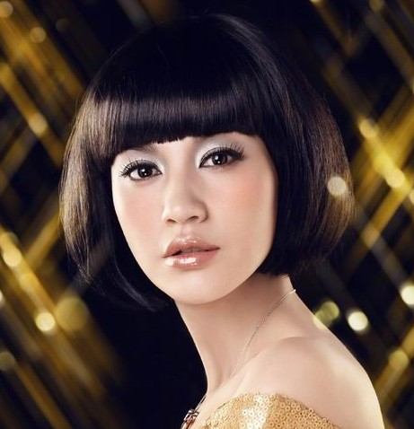 Asian bob hairstyle with Straight Across Bangs