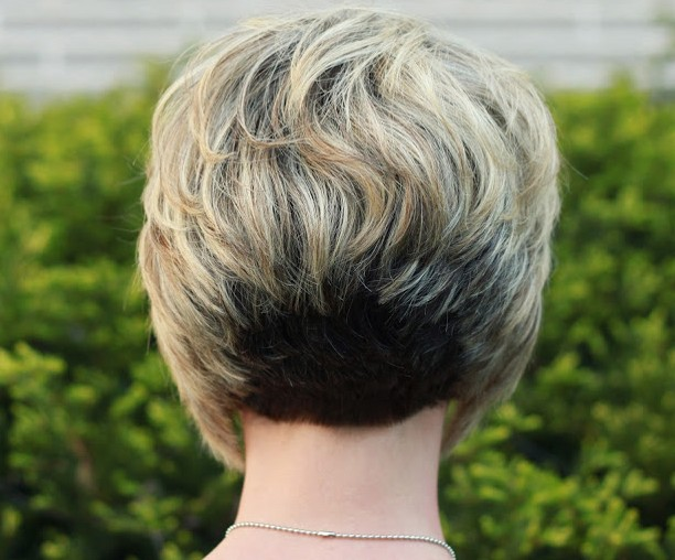 Back View of Stacked Bob Hairstyle - Best Layered Short Haircut