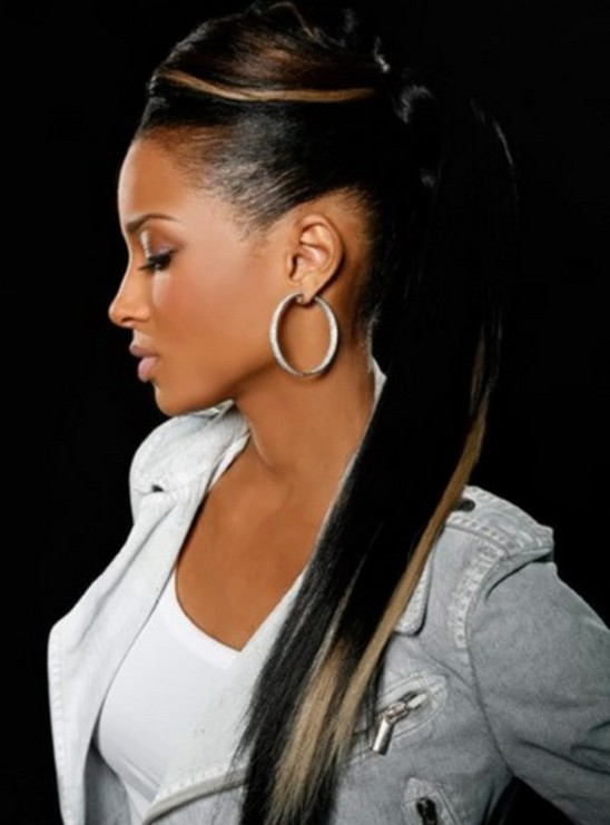 Black Hair with Blonde Highlights for Ponytail Hairstyles