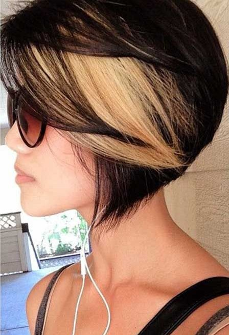 Black Hair with Blonde Highlights for Short Hairstyles