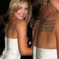 Brittney Palmer' Tattoos - Lettering Tattoo on Upper Back