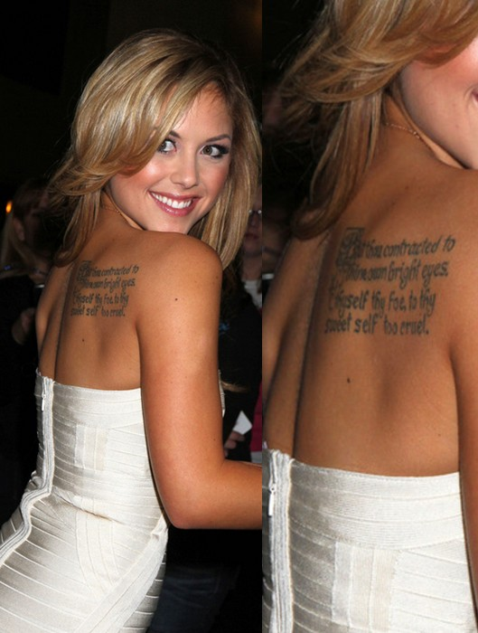 Brittney Palmer' Tattoos - Lettering Tattoo on Upper Back