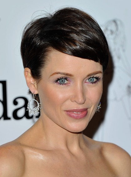 Dannii Minogue Short Haircut with Side Swept Bangs