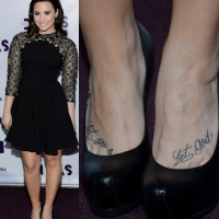 Demi Lovato' Tattoos -  Lettering Tattoo on Foot