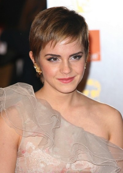 Emma Watson Short Pixie Cut With Bangs