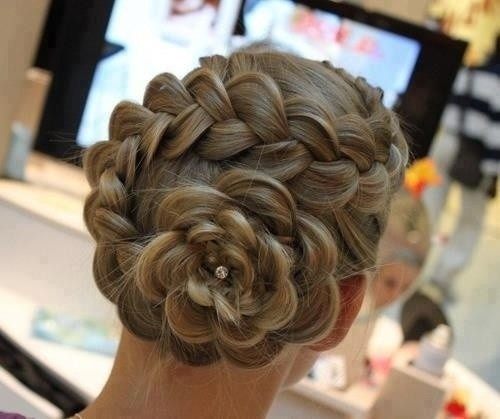 Formal braided rose chignon elegant updo for prom - Chignon original ...