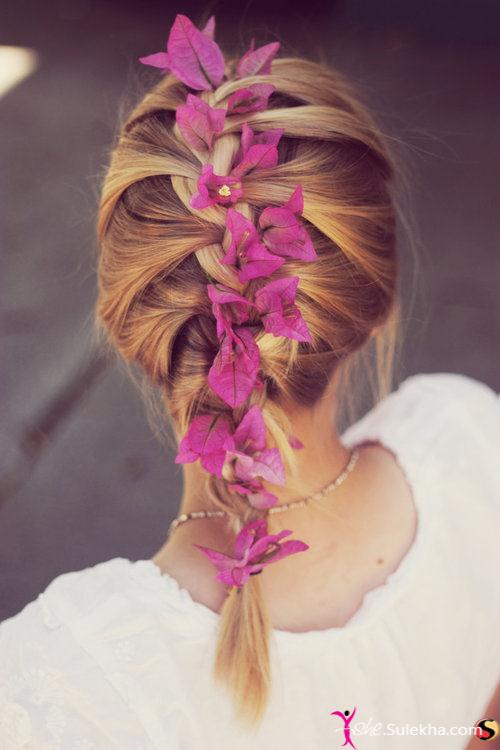 French Plait with Flowers - Hairstyles 2014