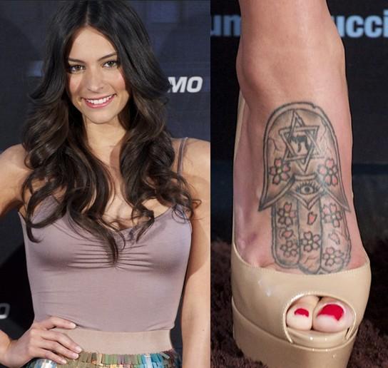Genesis Rodriguez S Tattoos Tribal Tattoo On Foot