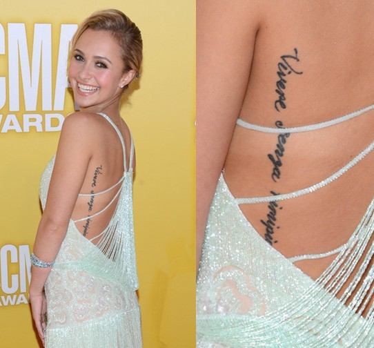 Hayden Panettiere' Tattoos - Lettering Tattoo on Lower Back