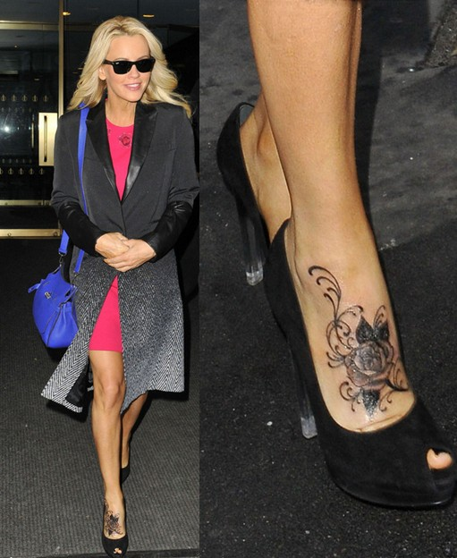 jenny mccarthy 39 s tattoos beautiful rose tattoo on foot pretty designs. Black Bedroom Furniture Sets. Home Design Ideas