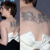 Lena Dunham' Tattoos - Artistic Design Tattoo on Upper Back