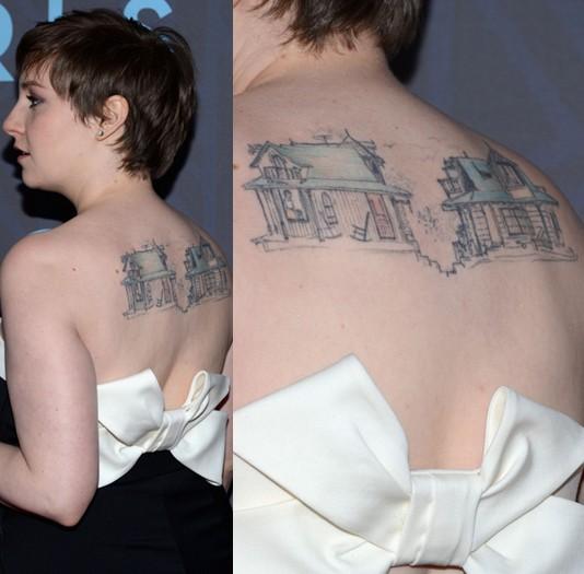 Lena Dunham' Tattoos - Artistic Design Tattoo on Upper Back