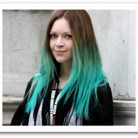 Long Straight Blue Dip-dye Hairstyle