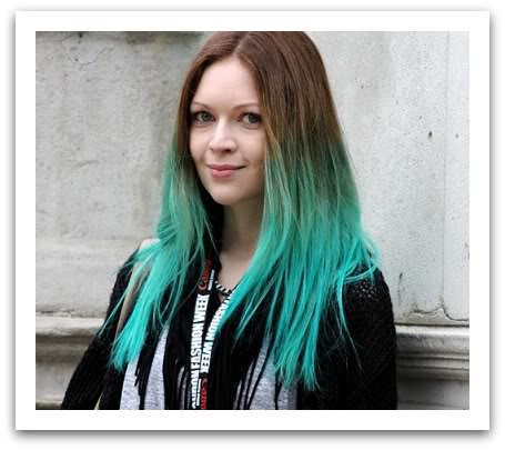 Long Straight Blue Dip-dye Hairstyle - Pretty Designs