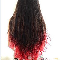 Long Wavy Red-edged Ombre Hairstyle