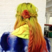 Braided Red Ombre Hair into Flower