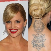 Mena Suvari's Tattoos - Animal Tattoo on Upper Back
