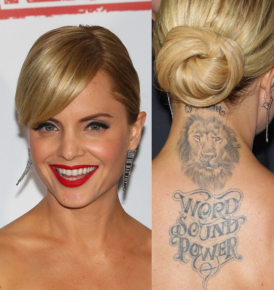 Mena Suvari Tattoos - Animal Tattoo on Upper Back