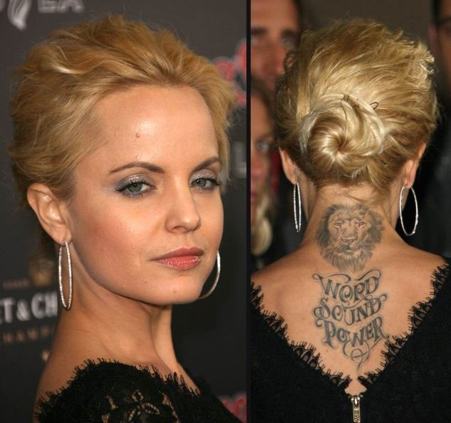 Mena Suvari Tattoos - Tattoo on Upper Back