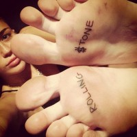 Miley Cyrus New Tattoo on her Feet