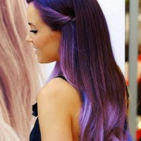 Long Wavy Purple Ombre Hair 2014