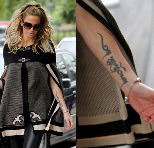 Sarah Harding' Tattoos - Lettering Tattoo on Forearm
