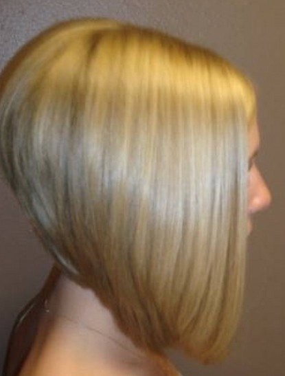 Side View of Severe Angled Stacked Bob Hairstyle