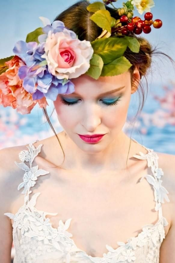 Simple updo Hairstyle with Flowers