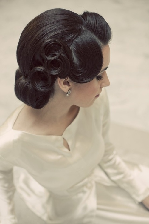 Sleek Flowery Updo Hairstyle