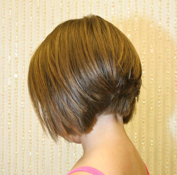 Back View Of Stacked Bob Hairstyle Layered Inverted