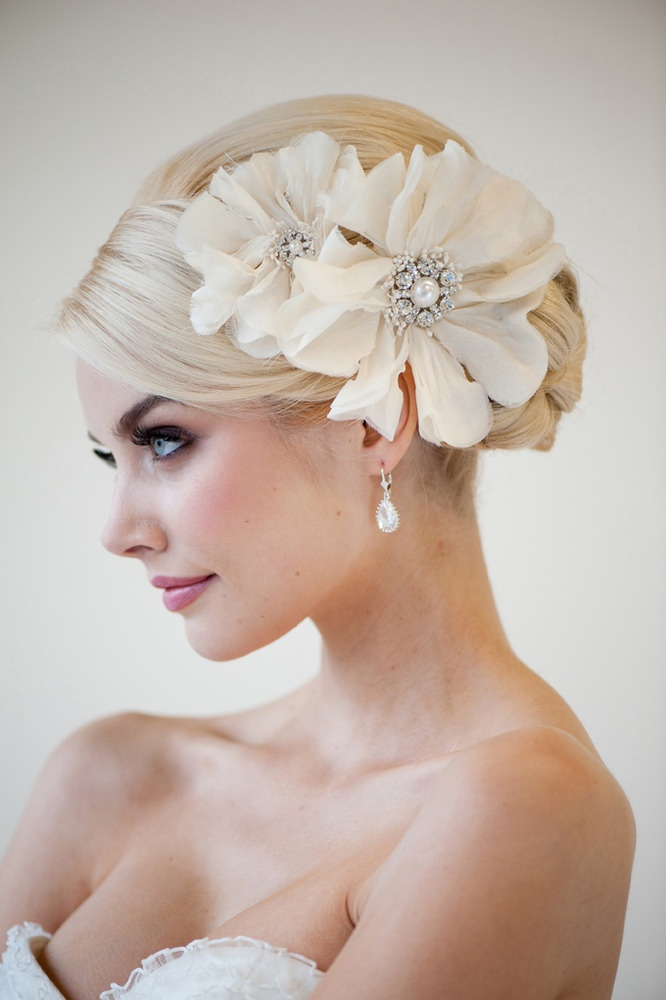 Updo Hairstyle with Flowery Clips