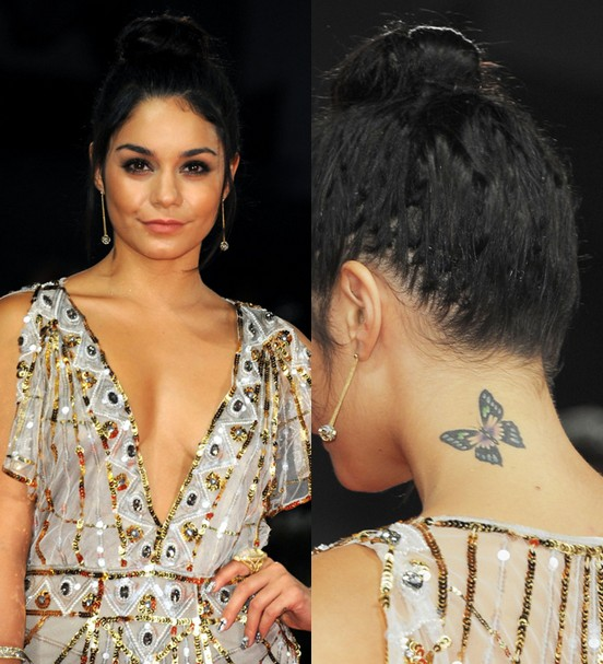 vanessa hudgens tattoos   butterfly tattoo on neck