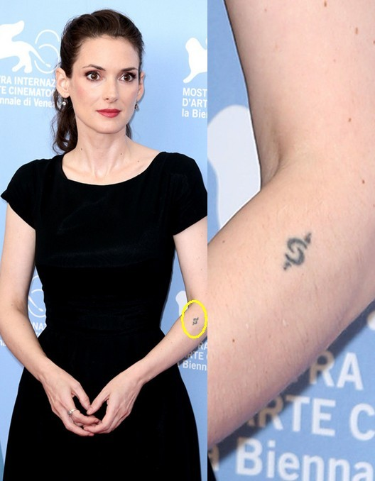Winona Ryder' Tattoos - Artistic Design Tattoo on Forearm