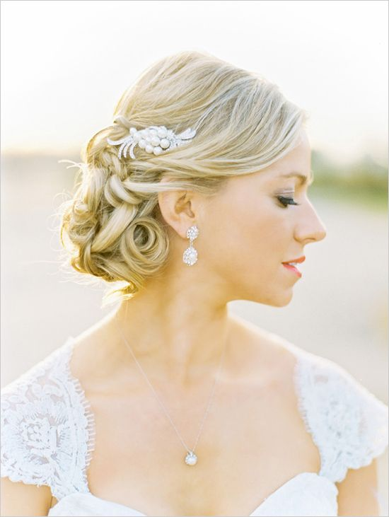Beautiful Twisted Low Up-do Hairstyle With Feathery Clips