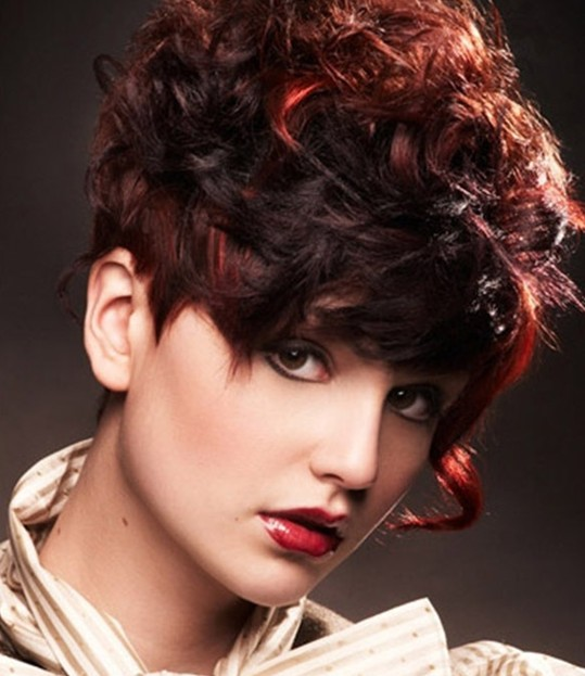 2014 Curly Hair Trends: Trendy Short Red Curly Hairstyle for Thick Hair