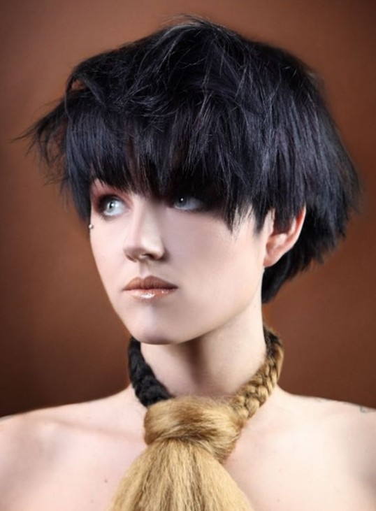 2014 Hairstyles: Short Black Bob Hairstyle with Bangs for Thick Hair