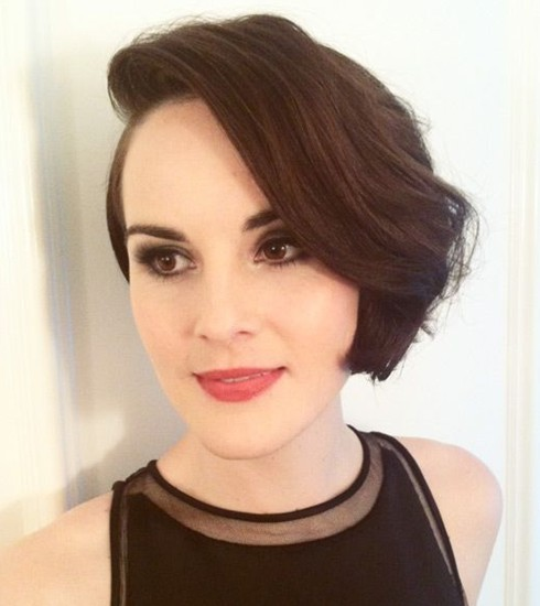 2014 Prom Hairstyle Ideas: Elegant Short Wavy Hairstyle from Michelle Dockery