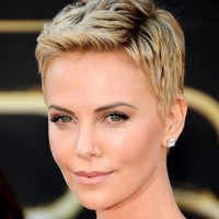 Charlize Theron Short Haircut: Cool Short Blond Closely Pixie Cut