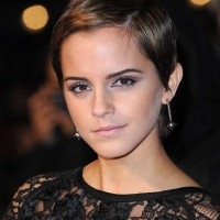 Emma Watson Short Haircut: Brunette Sleek Highlighted Pixie Cut