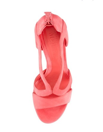 Above View of Alexander McQueen Strappy Suede Armadillo Sandal, Bubblegum