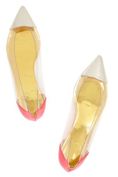 Above View of Christian Louboutin Corbeau ayers, leather and PVC flat