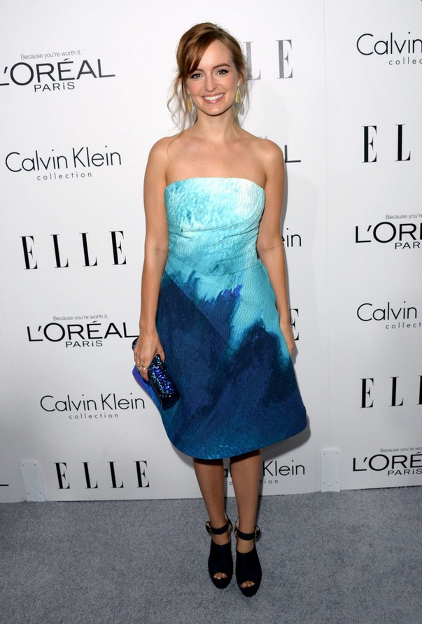 Ahna O'Reilly: Blue Monique Lhuillier Strapless Dress