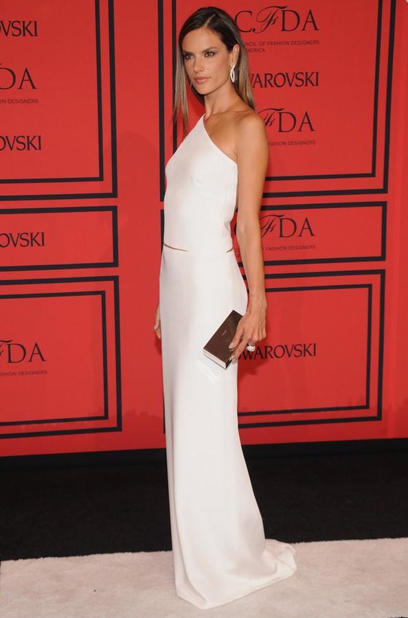 Alessandra Ambrosio: White Kaufman Franco One Shoulder Dress