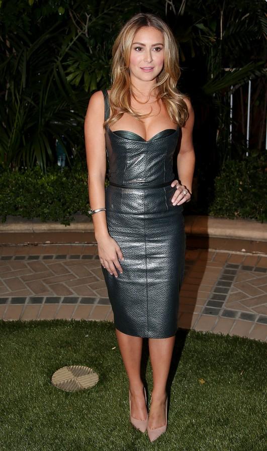 Alexa Vega: Slate-blue Leather Dress with a Revealing Neckline