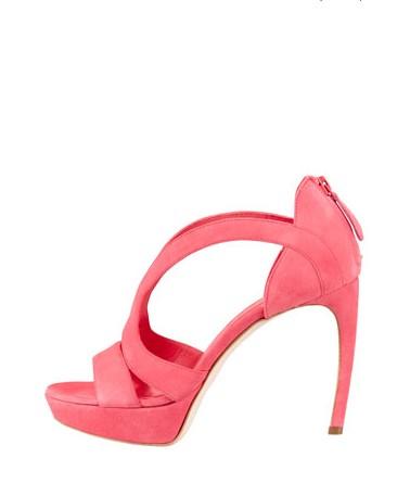 Alexander McQueen Strappy Suede Armadillo Sandal, Bubblegum