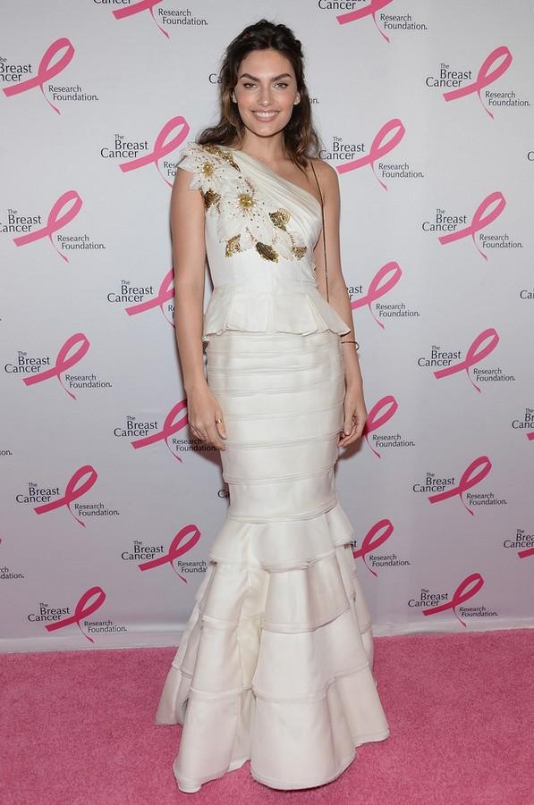 Alyssa Miller: White One Shoulder Mermaid Dress