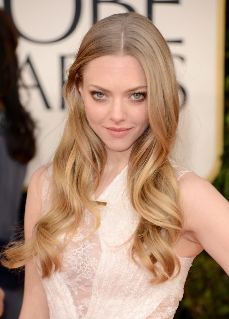 Amanda Seyfried Center Parted Long Wavy Blond Hairstyle