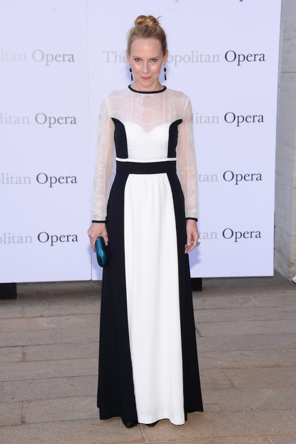 Amy Ryan: Long-sleeve Black-and-white Alberta Ferretti Evening Dress by