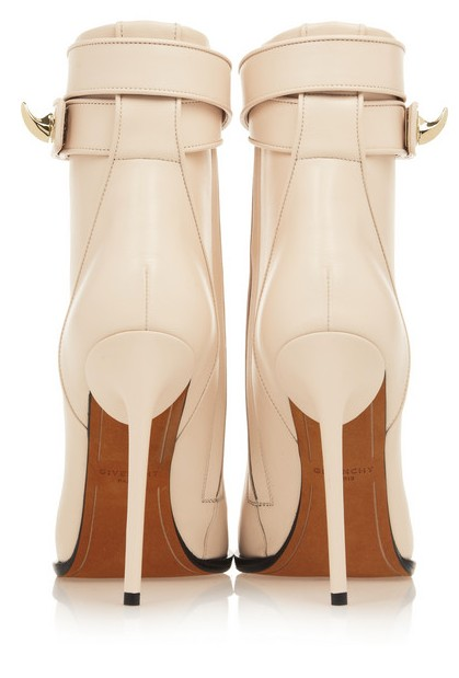 Back View of the Givenchy Shark Lock ankle boots in pale blush leather